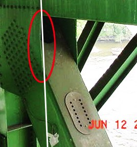 The ill-fated, warped U10 gusset plate on the I35W bridge.  June 12, 2003.